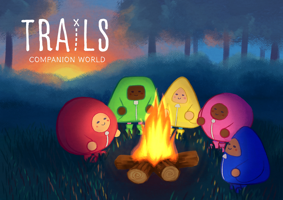 """""""Trails: Companion World"""" is written in the top-left corner. 5 characters are sat around a campfire in a forest."""
