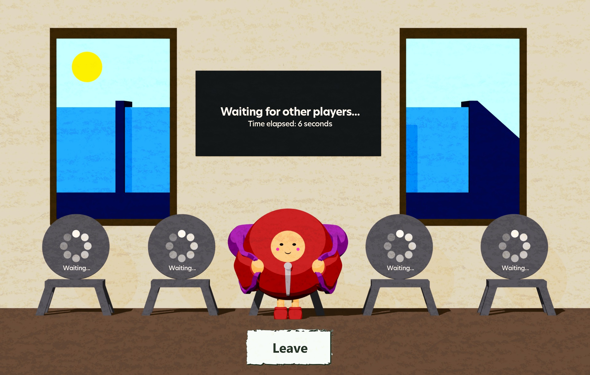 A scene from the Trails: Companion World game. The player character waits in front of a row of chairs that say waiting on them. A board above the character says waiting for other players - time elapsed 6 seconds. A button underneath the player character says leave. Outside the window, it is sunny and a train has pulled up.