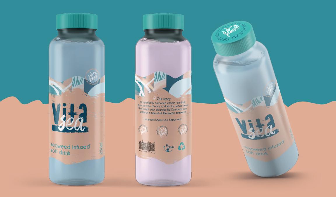Vitasea drink packaging mock ups.