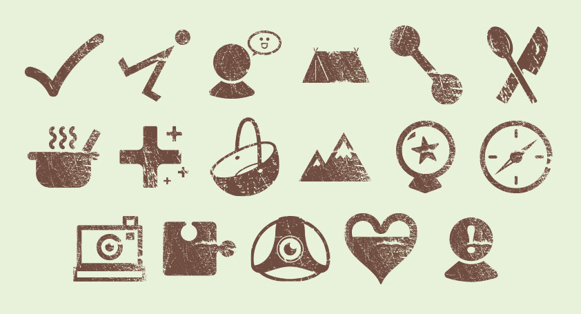A set of 17 brown icons. They all have a rough texture applied over the top of them. The top row of icons are a tick, an arrow pointing at a dot, a person's head with a smiling face in a speech bubble next to them, a tent, two circles connected by a line and a knife and spoon. The middle row of icons are a steaming cooking pot, a large plus sign with some smaller plus sings next to it, a basket, mountains, a crystal ball with a star on it and a navigator's compass. The bottom row of icons are a camera, a puzzle piece, a hard hat, a heart filled in half way and a person's head with an exclamation mark over the face.