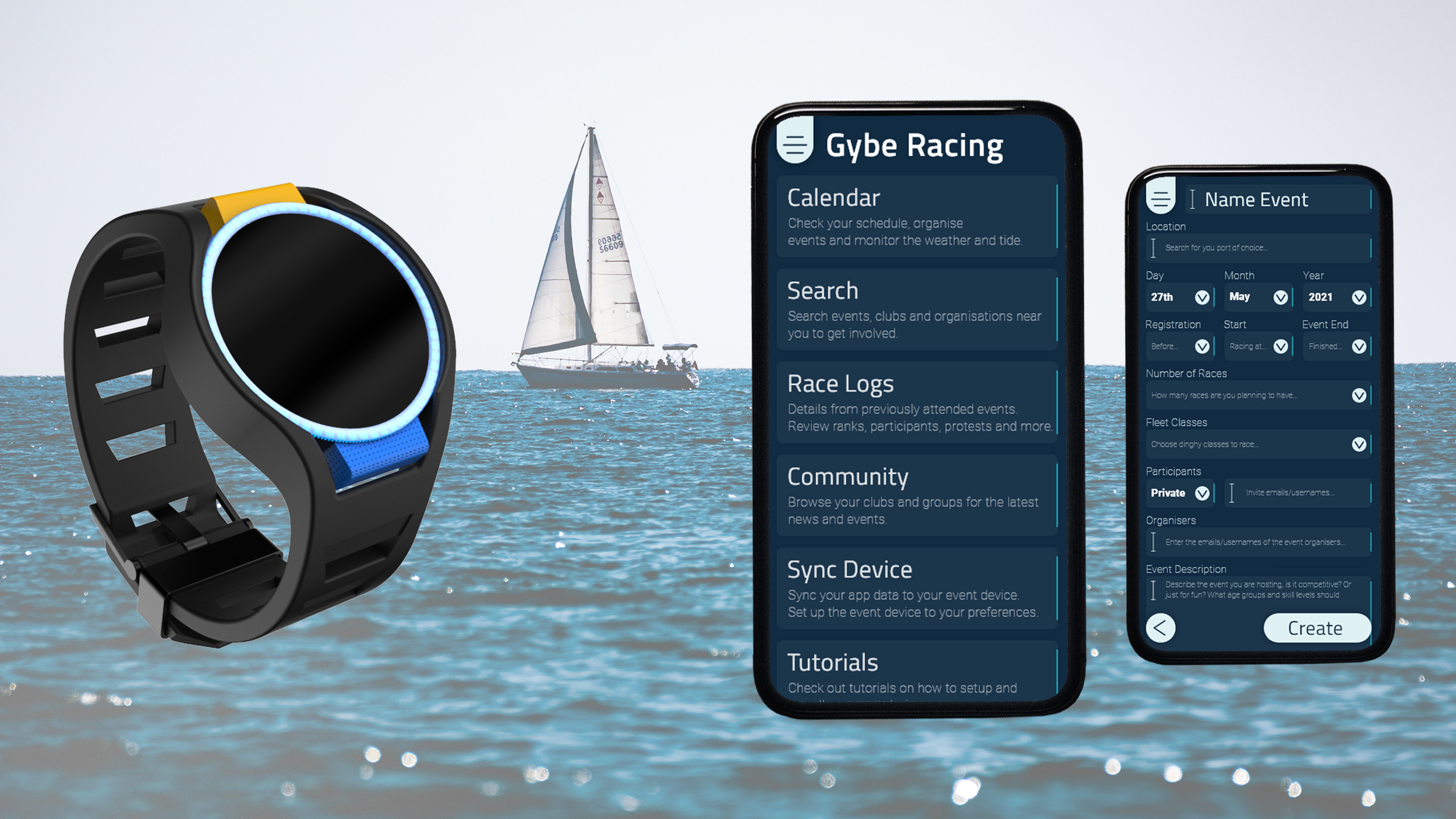 Basic CAD render of a wrist-worn communication device in black, blue and yellow, also two app screen layouts, on an ocean scene background