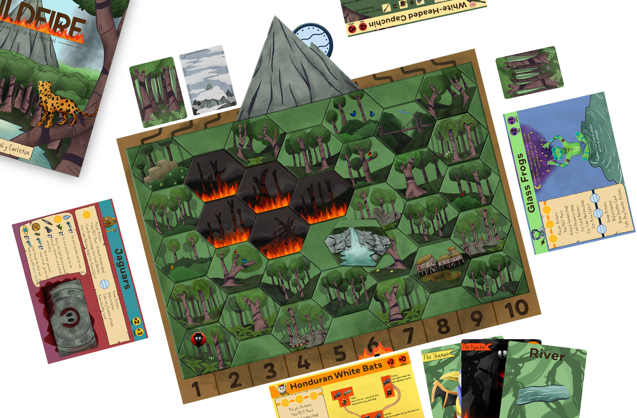 Mock up of a board game about deforestation showing an illustrated board, cards and box.