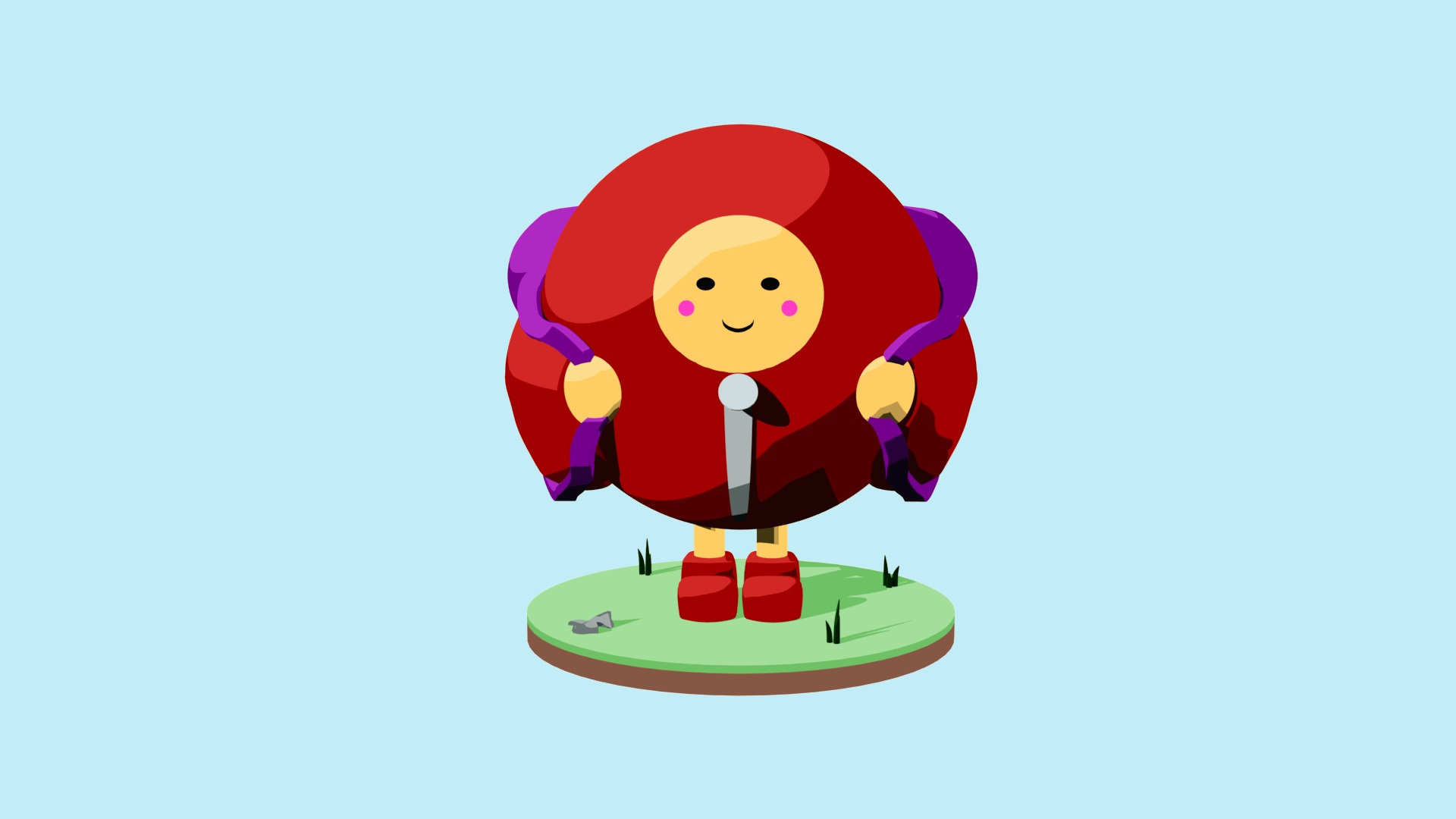A red, spherical character is smiling while carrying a purple backpack. It stands on a tile of grass and pebbles against a pale blue background.