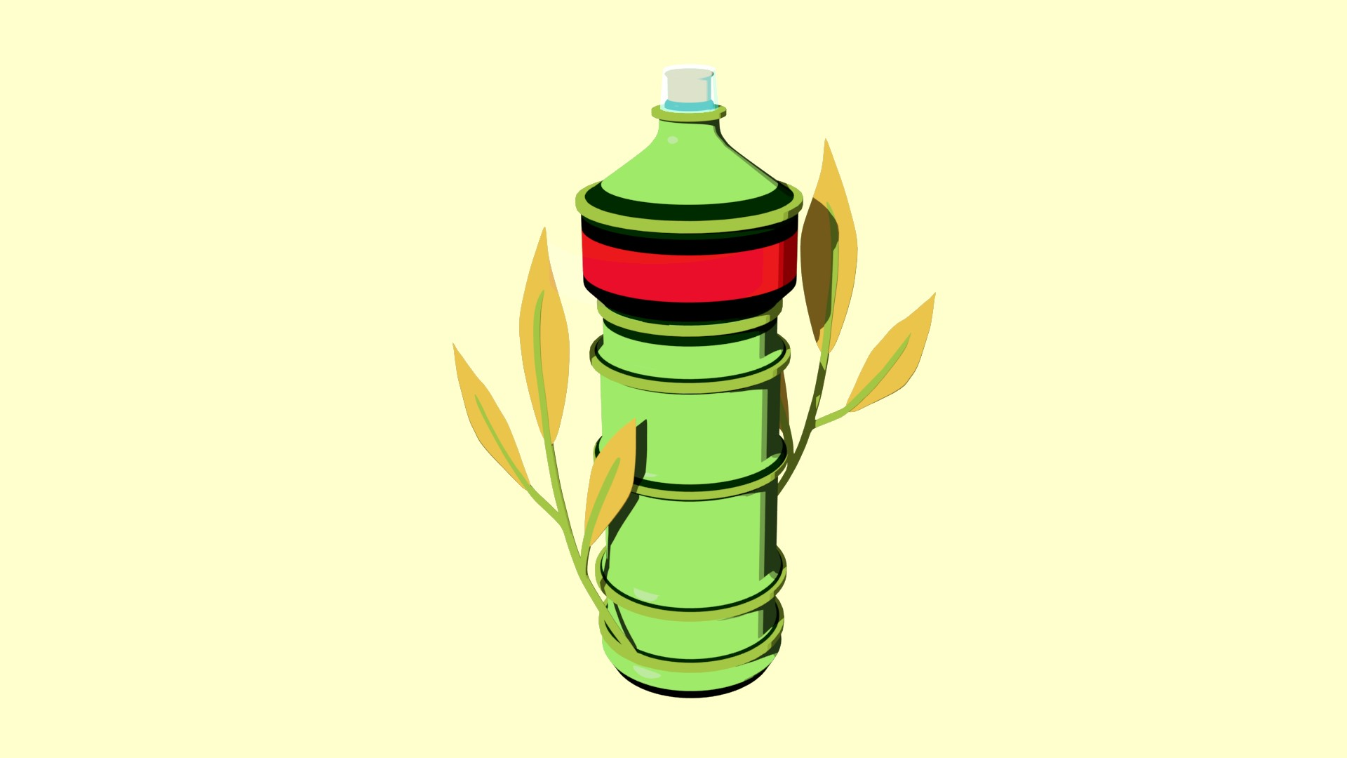 A green bottle with a red and black stripe on a yellow background. It is decorated with two large leaves coming out of the base.